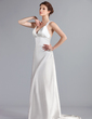 Empire V-neck Sweep Train Charmeuse Wedding Dress (002026258)