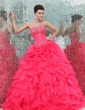 Ball-Gown Sweetheart Floor-Length Organza Quinceanera Dress With Beading Cascading Ruffles (021017439)