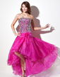 A-Line/Princess Strapless Asymmetrical Organza Prom Dress With Beading (018022556)