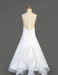 A-Line/Princess Floor-length Flower Girl Dress - Organza/Satin Sleeveless Scoop Neck With Beading/Sequins (010014647)