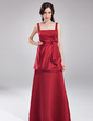 Empire Square Neckline Floor-Length Satin Maternity Bridesmaid Dress With Bow(s) Cascading Ruffles (045004390)