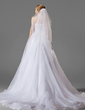 Two-tier Fingertip Bridal Veils With Cut Edge (006003845)
