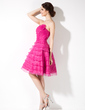 A-Line/Princess Strapless Knee-Length Organza Homecoming Dress With Ruffle Flower(s) (022004630)