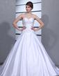 Corte de baile Escote corazón Tren de la catedral Satén Vestido de novia con Volantes Bordado (002001173)