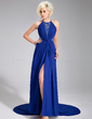 A-Line/Princess Scoop Neck Court Train Chiffon Lace Evening Dress With Ruffle Split Front (017019581)