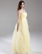 A-Line/Princess Strapless Floor-Length Organza Prom Dress With Ruffle Cascading Ruffles (018015909)