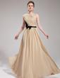 A-Line/Princess One-Shoulder Floor-Length Chiffon Evening Dress With Ruffle Sash Bow(s) (017019730)