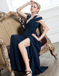 A-Line/Princess V-neck Floor-Length Chiffon Evening Dress With Ruffle Split Front (017005249)