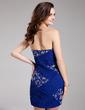 Sheath/Column Strapless Short/Mini Chiffon Prom Dress With Ruffle Beading Sequins (018019193)