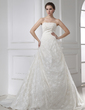 A-Line/Princess Strapless Chapel Train Lace Wedding Dress With Ruffle (002015463)