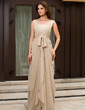 A-Line/Princess V-neck Sweep Train Chiffon Evening Dress With Ruffle Lace Beading (022027057)