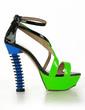 Patent Leather Chunky Heel Sandals Platform Peep Toe Slingbacks With Split Joint shoes (087026684)