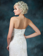 Trumpet/Mermaid Strapless Court Train Tulle Wedding Dress With Beading Appliques Lace (002000368)