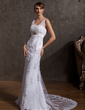 Trumpet/Mermaid Sweetheart Court Train Tulle Wedding Dress With Beading Appliques Lace Sequins (002014955)
