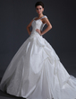 Ball-Gown Sweetheart Chapel Train Taffeta Tulle Wedding Dress With Ruffle Appliques Lace Flower(s) Sequins (002017401)