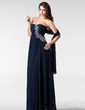 A-Line/Princess Sweetheart Floor-Length Chiffon Prom Dress With Ruffle Beading (018005211)