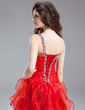 A-Line/Princess One-Shoulder Asymmetrical Organza Prom Dress With Beading Sequins Cascading Ruffles (018011238)