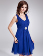A-Line/Princess V-neck Knee-Length Chiffon Homecoming Dress With Ruffle Crystal Brooch (022010700)