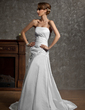 Trumpet/Mermaid Strapless Chapel Train Taffeta Wedding Dress With Ruffle Beading Appliques Lace (002011741)