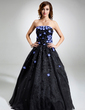 Ball-Gown Strapless Floor-Length Organza Quinceanera Dress With Beading Flower(s) Sequins (021020827)