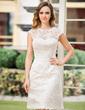 A-linjeformat Rund-urringning Knälång Spetsar Bröllopsklänning (002052768)
