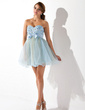 Empire Sweetheart Short/Mini Organza Homecoming Dress With Ruffle Beading Bow(s) (022007286)