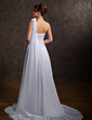 Empire One-Shoulder Court Train Chiffon Wedding Dress With Ruffle Flower(s) (002000574)