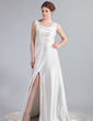 A-Line/Princess Cowl Neck Watteau Train Charmeuse Lace Wedding Dress With Ruffle Lace Beading Split Front (002019719)