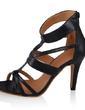 Leatherette Spool Heel Sandals Pumps With Zipper shoes (087033616)