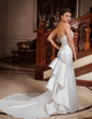 Trumpet/Mermaid Sweetheart Chapel Train Satin Wedding Dress With Beading Sequins Cascading Ruffles (002000094)