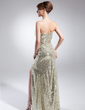 Sheath/Column Strapless Floor-Length Sequined Prom Dress With Split Front (008015891)