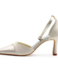Women's Satin Chunky Heel Closed Toe Pumps With Buckle Sparkling Glitter (047010764)