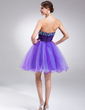 A-Line/Princess Strapless Short/Mini Tulle Homecoming Dress With Beading (022020826)