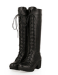 Leatherette Chunky Heel Knee High Boots With Lace-up shoes (088056937)