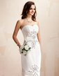Sheath/Column Sweetheart Knee-Length Satin Wedding Dress With Beading Sequins (002012673)