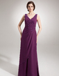 A-Line/Princess V-neck Floor-Length Chiffon Evening Dress With Ruffle Beading Sequins (017020666)