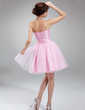 A-Line/Princess Sweetheart Knee-Length Tulle Homecoming Dress With Ruffle Beading Sequins (022009055)