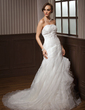 A-Line/Princess Sweetheart Chapel Train Satin Organza Wedding Dress With Lace Cascading Ruffles (002004533)