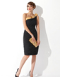 Sheath/Column One-Shoulder Knee-Length Chiffon Cocktail Dress With Ruffle Sash Beading Bow(s) (016008557)
