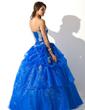 Balo Elbisesi Kalp Kesimli Uzun Etekli Organza Quinceanera (15 Yaş) Elbisesi Ile Büzgü Aplike Pullarda (021004707)