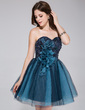 A-Line/Princess Sweetheart Short/Mini Tulle Homecoming Dress With Beading Flower(s) (022027150)