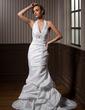 Forme Sirène/Trompette Dos nu Traîne moyenne Taffeta Robe de mariée avec Plissé Emperler (002001271)