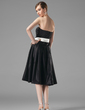 A-Line/Princess Strapless Knee-Length Satin Bridesmaid Dress With Sash (007001798)
