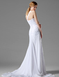 A-Line/Princess One-Shoulder Court Train Chiffon Wedding Dress With Ruffle Beading Flower(s) (002000446)