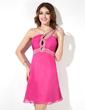 Imperialna Jednoramienna Krótka/Mini Chiffon Sukienka na Zjazd Absolwentów Z Żabot Perełki (022009430)