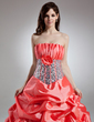 Ball-Gown Scalloped Neck Floor-Length Taffeta Quinceanera Dress With Ruffle Flower(s) Sequins (021015958)