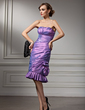 Sheath/Column Sweetheart Knee-Length Taffeta Cocktail Dress With Ruffle (016021237)