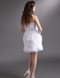 Sheath/Column Sweetheart Short/Mini Organza Homecoming Dress With Flower(s) Cascading Ruffles (022016284)