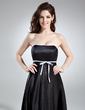 Empire Strapless Tea-Length Charmeuse Bridesmaid Dress With Sash Bow(s) (007020745)