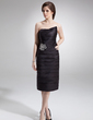 Kılıf Kalp Kesimli Diz Hizası Saten Gelin Annesi Elbisesi Ile Büzgü Boncuk (008006042)